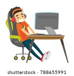 caucasian white teenage gamer... | Shutterstock .eps vector #788655991