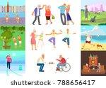 banner of retired elderly... | Shutterstock .eps vector #788656417
