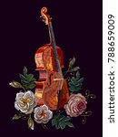 embroidery violin and roses | Shutterstock .eps vector #788659009