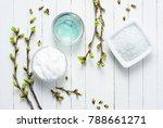 white moisturizer and blue... | Shutterstock . vector #788661271