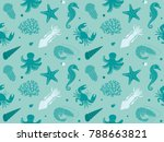 pattern with sea life.... | Shutterstock .eps vector #788663821