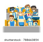 multiethnic sport supporters... | Shutterstock .eps vector #788663854