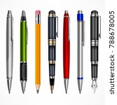 set of pens and pencils  tools... | Shutterstock .eps vector #788678005