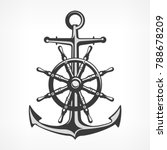 anchor with steering wheel ... | Shutterstock .eps vector #788678209