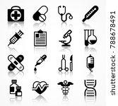 set of medical icons on white... | Shutterstock .eps vector #788678491