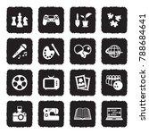 hobbies icons. grunge black...   Shutterstock .eps vector #788684641