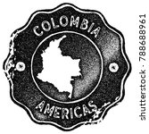 colombia map vintage stamp.... | Shutterstock .eps vector #788688961
