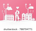 paper art style. valentines... | Shutterstock .eps vector #788704771