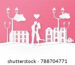 paper art style. valentines... | Shutterstock .eps vector #788704771