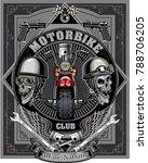 vintage motorcycle label  | Shutterstock . vector #788706205