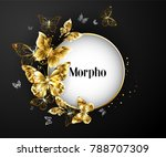round frame decorated gold... | Shutterstock .eps vector #788707309
