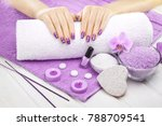 beautiful violet manicure with... | Shutterstock . vector #788709541