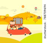 travel by car concept. young... | Shutterstock .eps vector #788709694