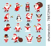 set of christmas icons with...