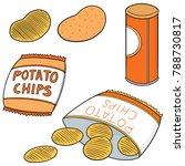 vector set of potato chips | Shutterstock .eps vector #788730817