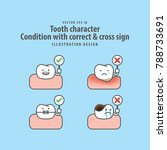 tooth character condition with... | Shutterstock .eps vector #788733691