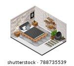 scandinavian interior bedroom... | Shutterstock .eps vector #788735539