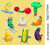 funny vegetable and fruit... | Shutterstock .eps vector #788737999