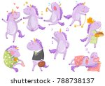 cute funny unicorn in different ... | Shutterstock .eps vector #788738137
