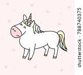 cute white unicorn illustration ... | Shutterstock .eps vector #788740375