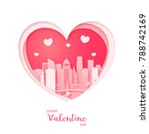 valentines card. paper cut... | Shutterstock .eps vector #788742169