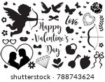 happy valentine's day set of... | Shutterstock .eps vector #788743624