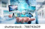 businessman connecting tech... | Shutterstock . vector #788743639