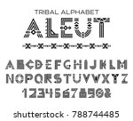 Tribal Aleut alphabet. Native Historic Cyrillic set of letters and figures, traditional ethnic characters in style of customs and traditions of Alaska culture. Vector illustration | Shutterstock vector #788744485