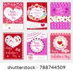 happy valentine's day set...   Shutterstock .eps vector #788744509