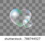 realistic soap bubbles heart... | Shutterstock .eps vector #788744527