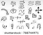 doodle vector arrows. isolated. ... | Shutterstock .eps vector #788744971