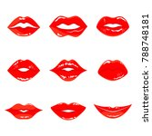 color sensual red lips vector... | Shutterstock .eps vector #788748181