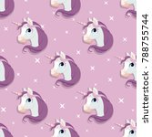 unicorn head seamless pattern... | Shutterstock .eps vector #788755744