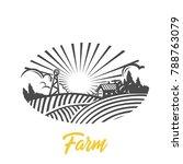 farm logo. nature. black and... | Shutterstock .eps vector #788763079