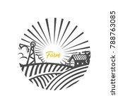farm logo. nature. black and... | Shutterstock .eps vector #788763085