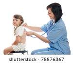 doctor listens by stethoscope... | Shutterstock . vector #78876367