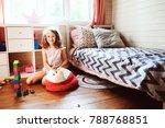 child girl cleaning her room... | Shutterstock . vector #788768851