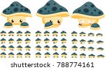 animated cute mushroom creature ... | Shutterstock .eps vector #788774161