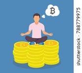 man sitting yoga lotus pose on... | Shutterstock .eps vector #788779975