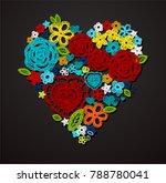 valentine heart. knitted... | Shutterstock .eps vector #788780041