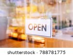 open sign broad through the... | Shutterstock . vector #788781775