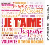 je t aime  i love you in french ... | Shutterstock .eps vector #788782675