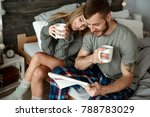 affectionate couple with coffee ... | Shutterstock . vector #788783029