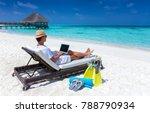 traveller man sits on a... | Shutterstock . vector #788790934