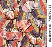 hand drawn decorative tulips ... | Shutterstock . vector #788791735