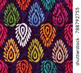 seamless pattern with ethnic... | Shutterstock . vector #788792755