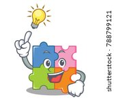have an idea puzzle mascot... | Shutterstock .eps vector #788799121