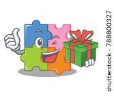with gift puzzle mascot cartoon ... | Shutterstock .eps vector #788800327
