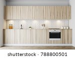 white wooden kitchen interior... | Shutterstock . vector #788800501