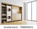white laundry room interior...   Shutterstock . vector #788800651